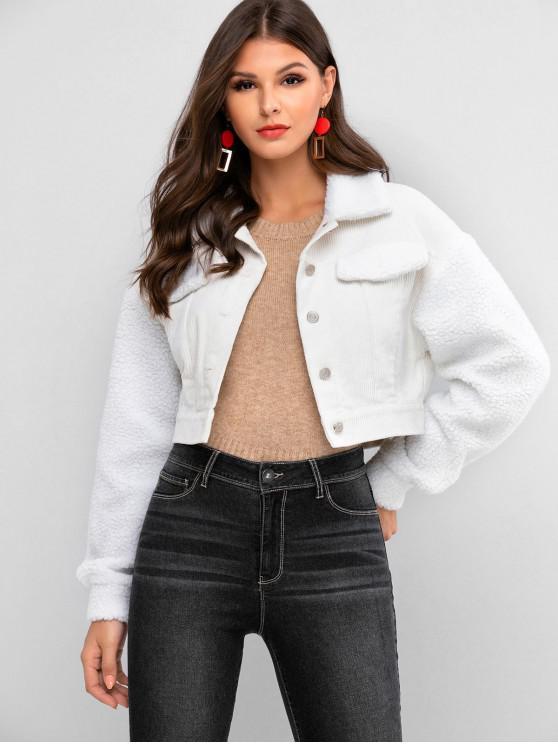 best ZAFUL Buttoned Teddy Fleece Panel Corduroy Jacket - WHITE L