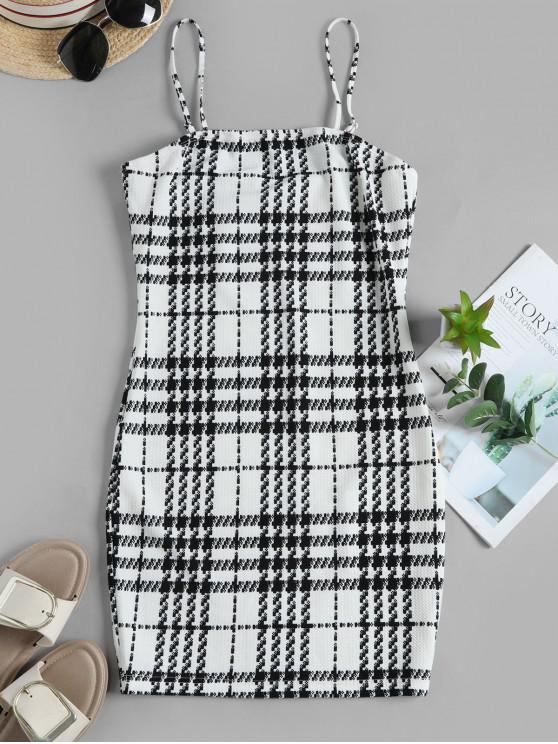 new ZAFUL Houndstooth Print Mini Cami Dress - WHITE S