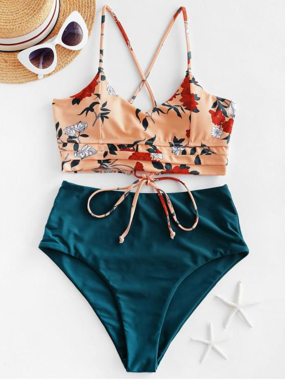 ZAFUL Floral zigzag Lace-up Tankini Swimsuit - Sandy Brown S