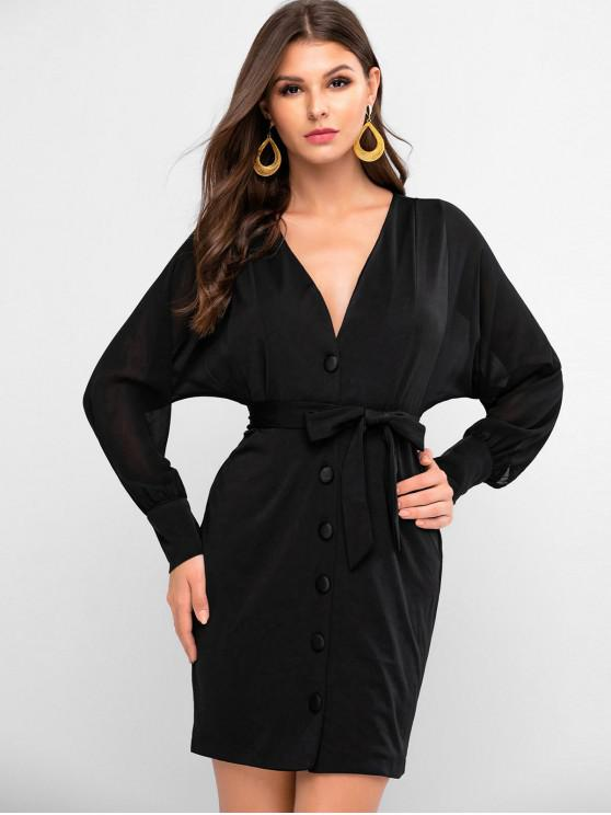 lady Chiffon Sleeve Plunge Belted Fitted Dress - BLACK M