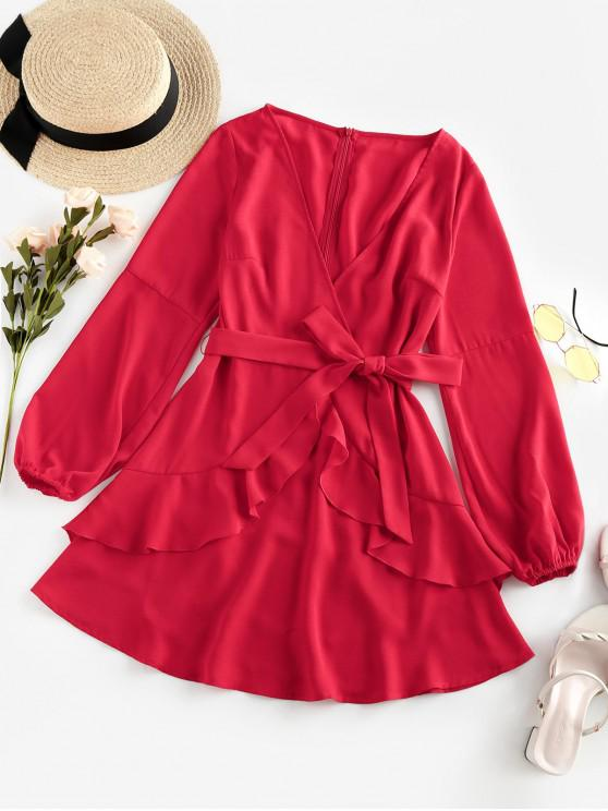outfit ZAFUL Plunging Belted Ruffle Mini Dress - RED M