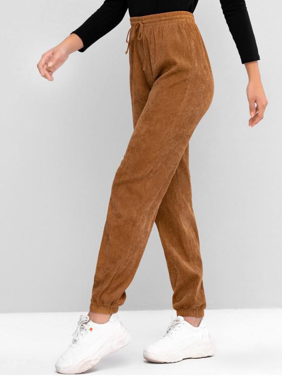 Pantaloni ZAFUL ridicat Waisted Cordon Corduroy jogger - Urs brun XL