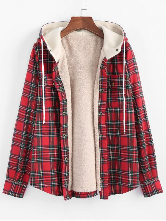 trendy ZAFUL Plaid Hooded Fluffy Lined Snap Button Jacket - MULTI-D S