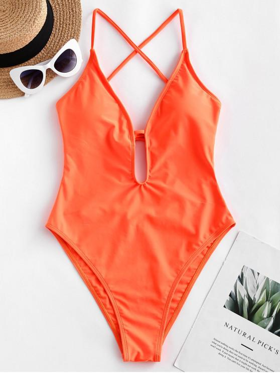 trendy ZAFUL Criss Cross High Cut Open Back One-piece Swimsuit - ORANGE L