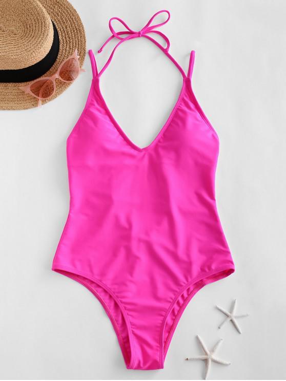 women ZAFUL Halter High Cut Open Back One-piece Swimsuit - HOT PINK XL