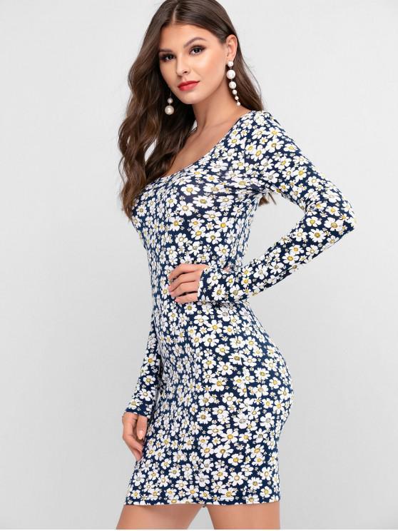 fancy ZAFUL Floral Print Scoop Neck Sheath Dress - CADETBLUE L