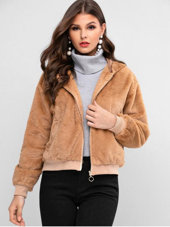 lady ZAFUL Zip Up Faux Fur Solid Hooded Coat - CAMEL BROWN XL