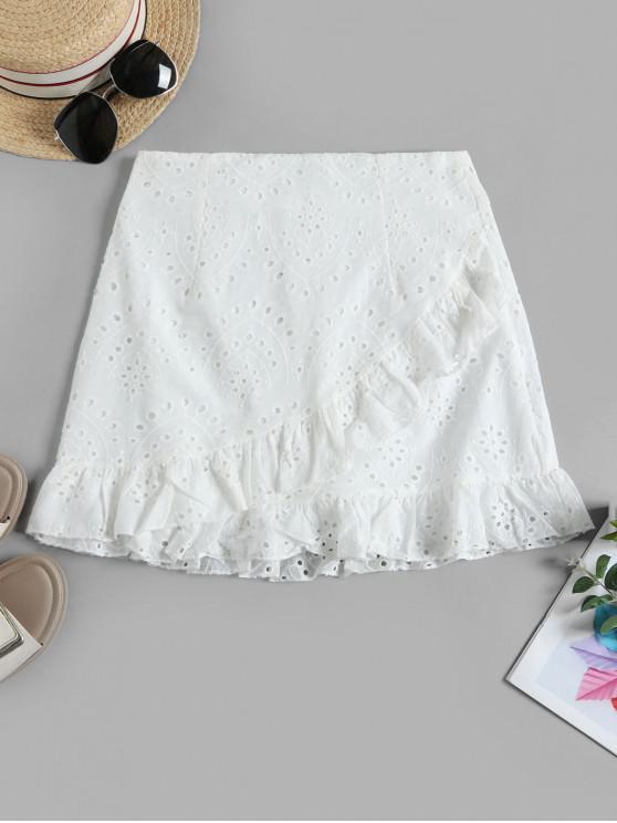 latest Ruffles Eyelet A Line Skirt - WHITE S