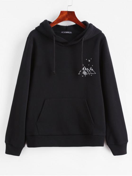 fancy ZAFUL Embroidered Fleece Lined Kangaroo Pocket Hoodie - BLACK M
