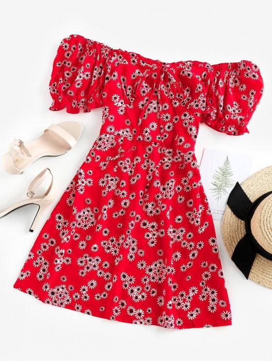 women ZAFUL Daisy Floral Off Shoulder Frilled Dress - CHESTNUT RED XL