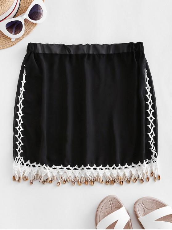best Sheer Crochet Panel Shells Chiffon Skirt - BLACK ONE SIZE