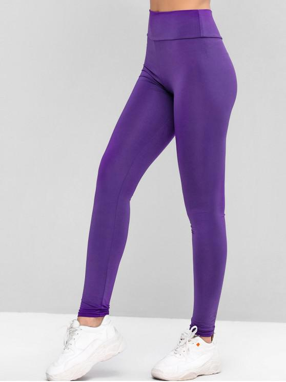 lady High Waisted Sports Solid Leggings - PURPLE ONE SIZE