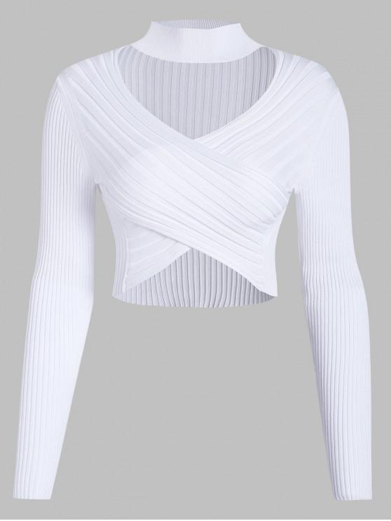 unique Cross Front Choker Cropped Pullover Sweater - WHITE L