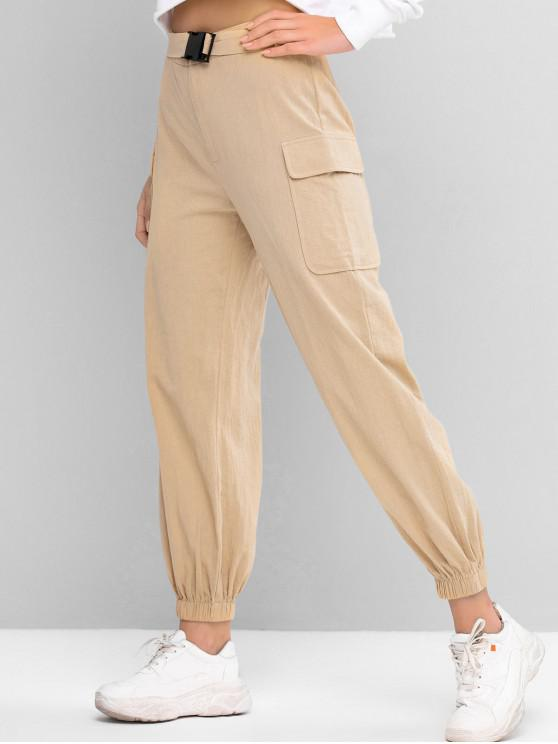 unique ZAFUL Buckled Belt Jogger Pants - TAN S