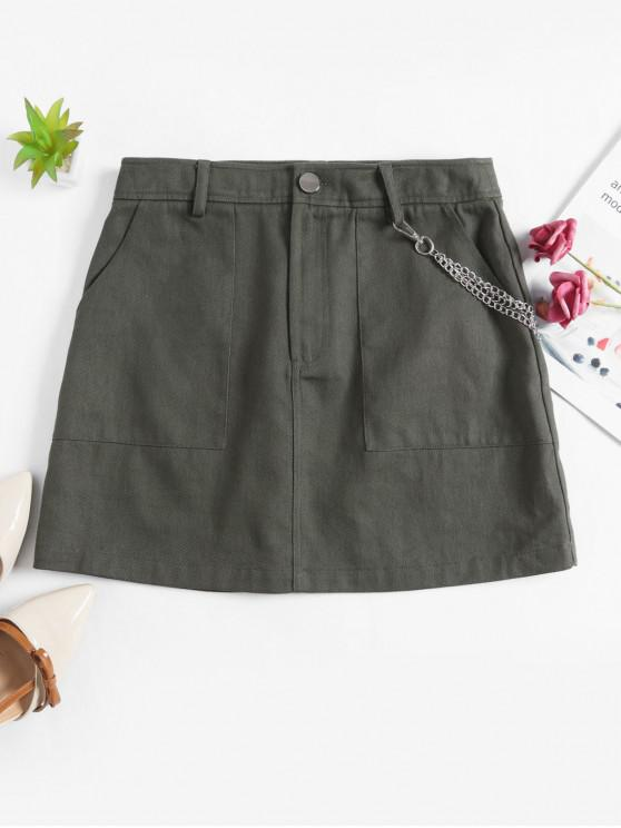 latest ZAFUL Solid Color Chains Embellished A Line Skirt - ARMY GREEN M