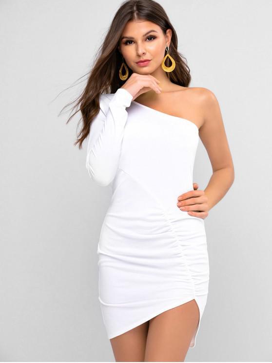 ZAFUL um ombro Ruched Vestido Bodycon - Branco S