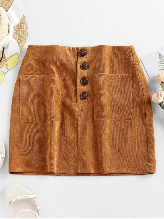 lady ZAFUL Pockets Corduroy Mini Skirt - BROWN SUGAR L