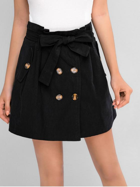 outfit ZAFUL Belted Double Breasted Mini Paperbag Skirt - BLACK S