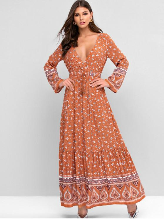 affordable ZAFUL Drawstring Bohemian Print Tassels Maxi Dress - MULTI-C XL