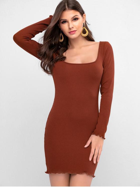 lady ZAFUL Lettuce Trim U Neck Bodycon Solid Dress - BROWN M