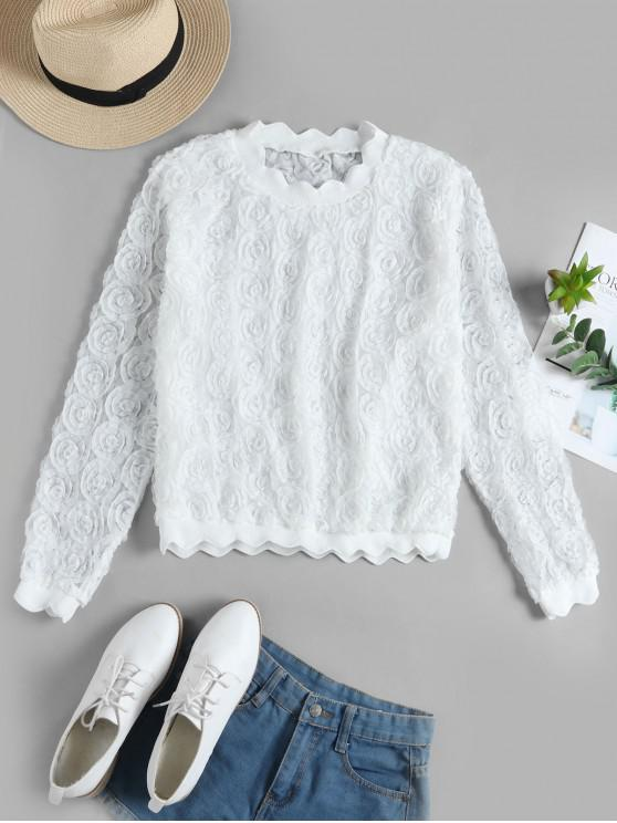 Sweat-shirt Festonné en Dentelle Pétale de Fleur - Blanc XL