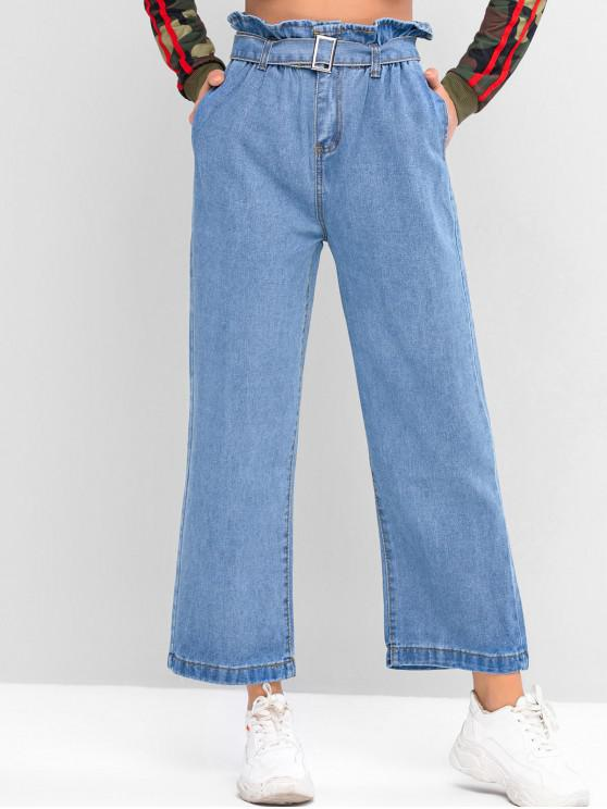sale Belted Pockets Wide Leg Paperbag Jeans - BLUE S