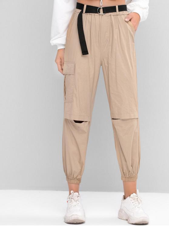 fashion High Waisted Belted Flap Pocket Jogger Pants - LIGHT KHAKI L