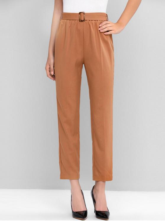 ZAFUL alta cintura in vita pantaloni solidi - marrone chiaro S