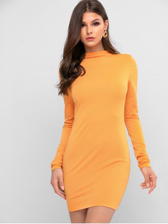 Vestito aderente ZAFUL Mock Neck Solid - Arancio L