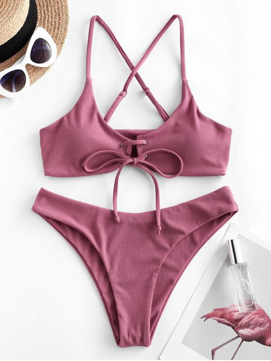 fashion ZAFUL Lace-up Crisscross Ribbed Bikini Swimsuit - PINK ROSE M