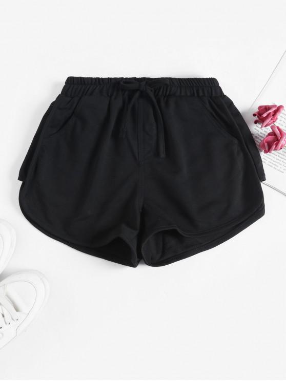 trendy Tie Pocket Dolphin Gym Shorts - BLACK M