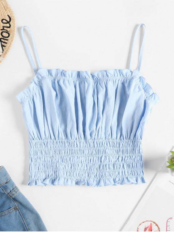 fashion ZAFUL Smocked Solid Crop Cami Top - LIGHT BLUE XL