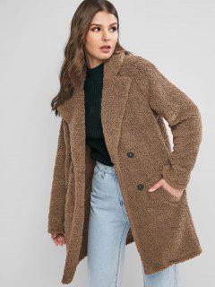ZAFUL Manteau Long En Fausse Fourrure à Revers Avec Poche - Marron Camel M