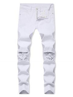 Solid Color Ripped Design Zip Fly Jeans - White 38