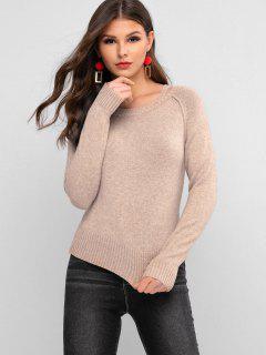 ZAFUL Crew Neck Cutout Sweater - Tan S