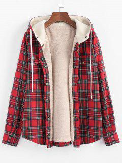 ZAFUL Plaid Hooded Fluffy Lined Snap Button Jacket - Multi-d M