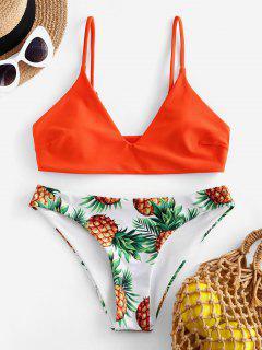 ZAFUL Pineapple Leaf Contrast Bikini Swimsuit - Orange M
