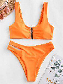 ZAFUL Zip Up Cutout Bikini Swimsuit - Dark Orange L