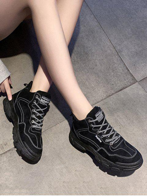 ladies Contrast Sewing Lace Up Casual Cargo Boots - BLACK EU 36 Mobile