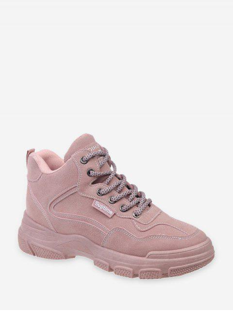 affordable Contrast Sewing Lace Up Casual Cargo Boots - PINK EU 37 Mobile