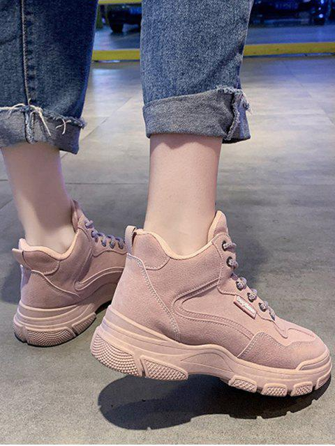 online Contrast Sewing Lace Up Casual Cargo Boots - PINK EU 39 Mobile