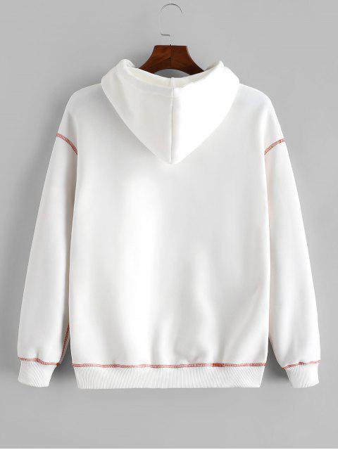 Carta bordado costuras en contraste Fleece con capucha - Blanco M Mobile