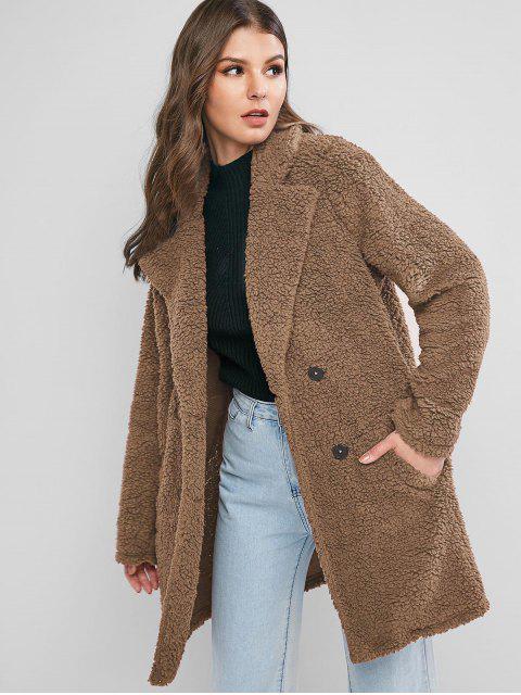 new ZAFUL Lapel Pocket Longline Faux Fur Coat - CAMEL BROWN S Mobile