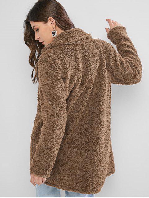 ZAFUL Manteau Long en Fausse Fourrure à Revers avec Poche - Marron Camel S Mobile