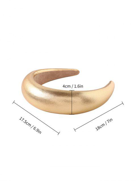 women's Faux Leather Solid Wide Hairband - GOLD  Mobile