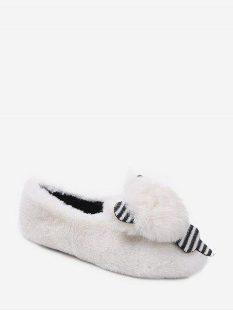 sale Cute Bear Faux Fur Slip On Flat Shoes - WHITE EU 36 Mobile