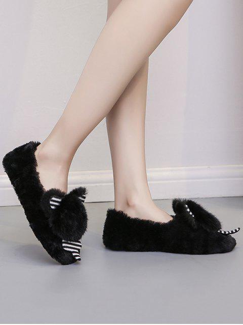 buy Cute Bear Faux Fur Slip On Flat Shoes - BLACK EU 37 Mobile