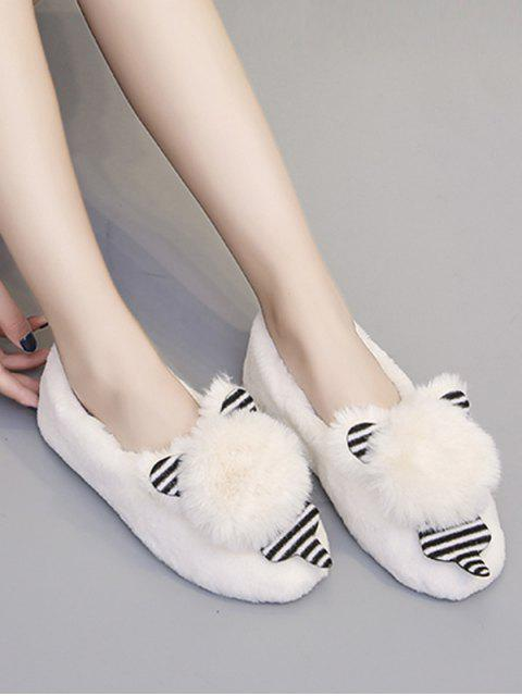 shop Cute Bear Faux Fur Slip On Flat Shoes - WHITE EU 38 Mobile