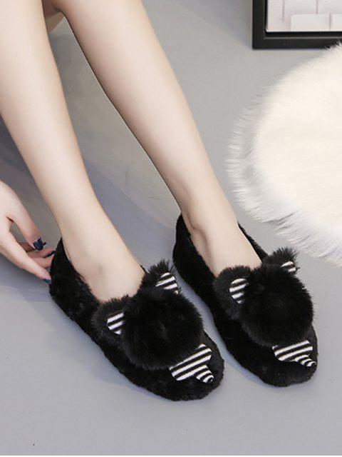 women Cute Bear Faux Fur Slip On Flat Shoes - BLACK EU 44 Mobile