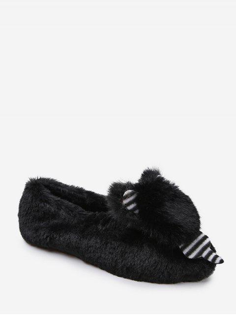 ladies Cute Bear Faux Fur Slip On Flat Shoes - BLACK EU 39 Mobile